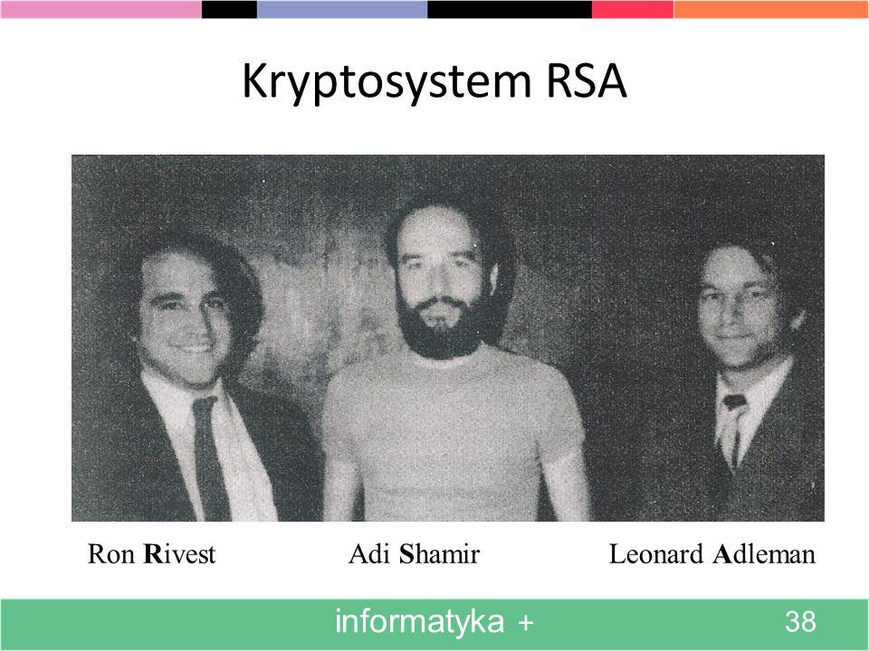 Kryptosystem RSA Ron RivestAdi ShamirLeonard Adleman informatyka + 38