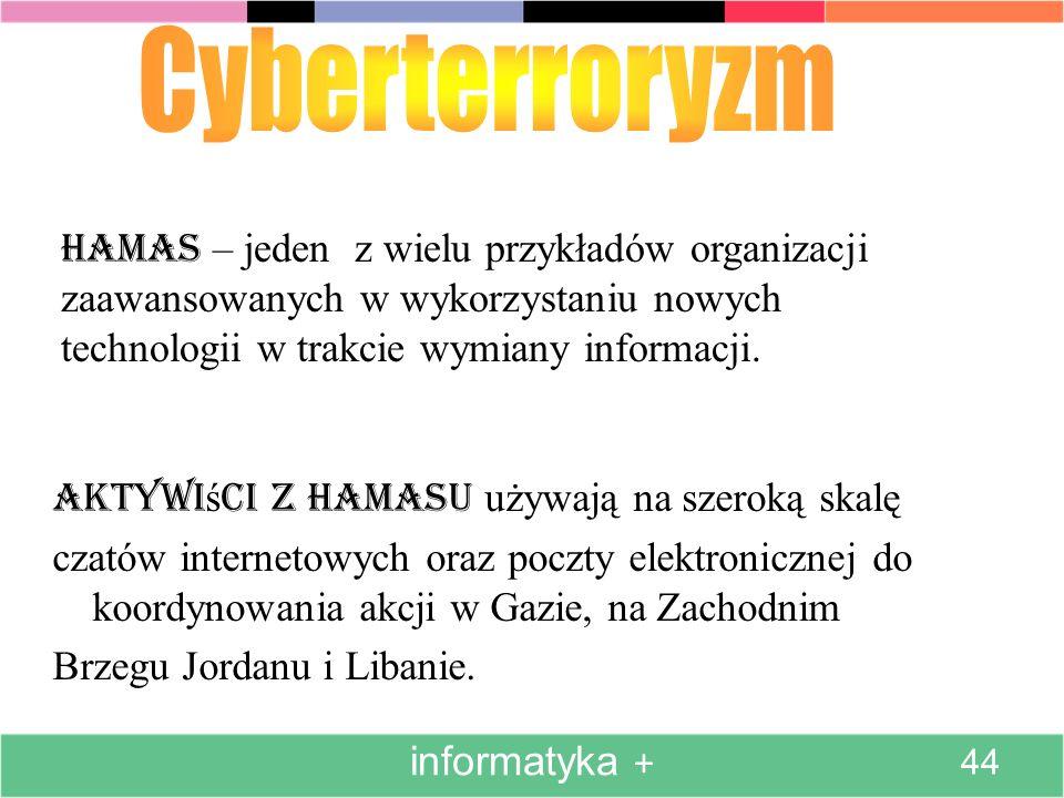 Hamas – jeden z wielu przykładów organizacji zaawansowanych w wykorzystaniu nowych technologii w trakcie wymiany informacji. Aktywi ś ci z Hamasu używ