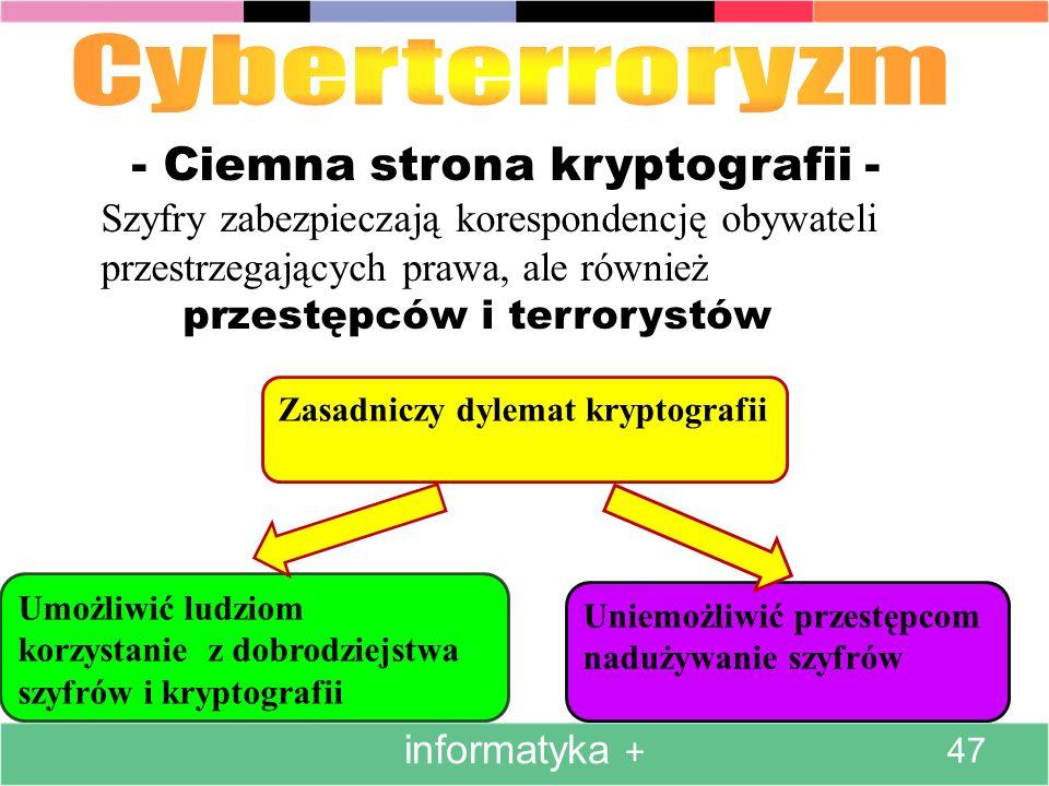 - Ciemna strona kryptografii - Szyfry zabezpieczają korespondencję obywateli przestrzegających prawa, ale również przestępców i terrorystów Umożliwić ludziom korzystanie z dobrodziejstwa szyfrów i kryptografii Uniemożliwić przestępcom nadużywanie szyfrów Zasadniczy dylemat kryptografii informatyka + 47