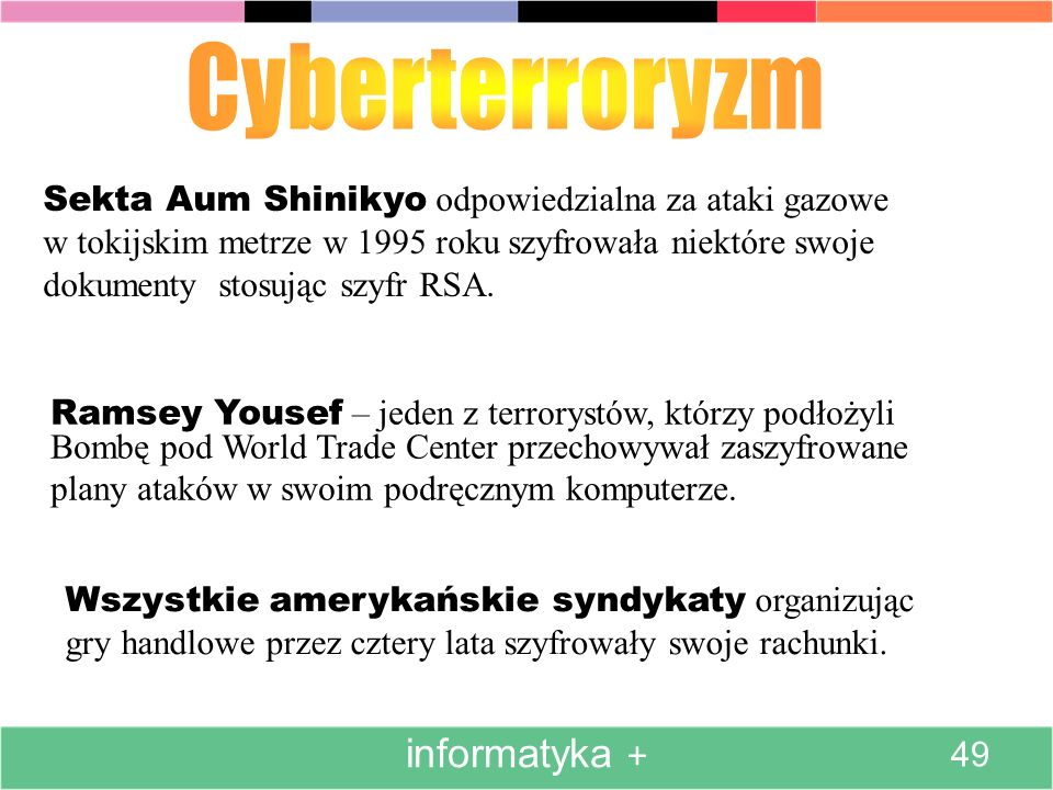 Sekta Aum Shinikyo odpowiedzialna za ataki gazowe w tokijskim metrze w 1995 roku szyfrowała niektóre swoje dokumenty stosując szyfr RSA. Ramsey Yousef