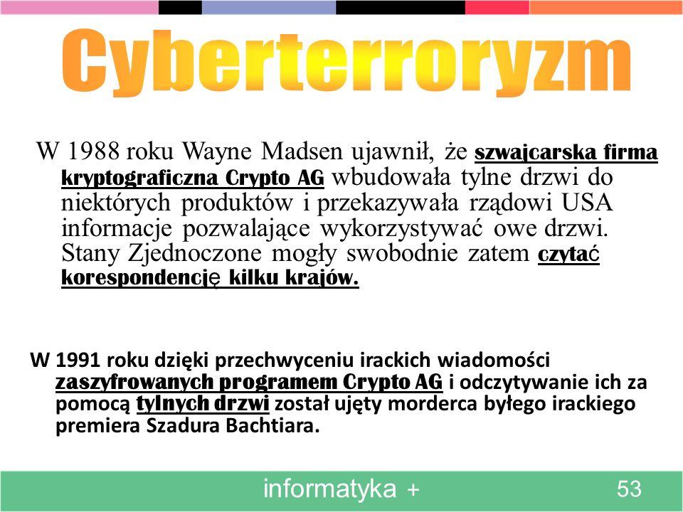 W 1991 roku dzięki przechwyceniu irackich wiadomości zaszyfrowanych programem Crypto AG i odczytywanie ich za pomocą tylnych drzwi został ujęty morder
