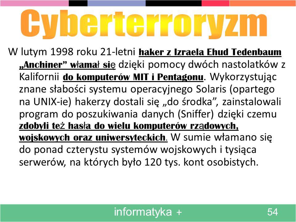 W lutym 1998 roku 21-letni haker z Izraela Ehud Tedenbaum Anchiner w ł ama ł si ę dzięki pomocy dwóch nastolatków z Kalifornii do komputerów MIT i Pentagonu.
