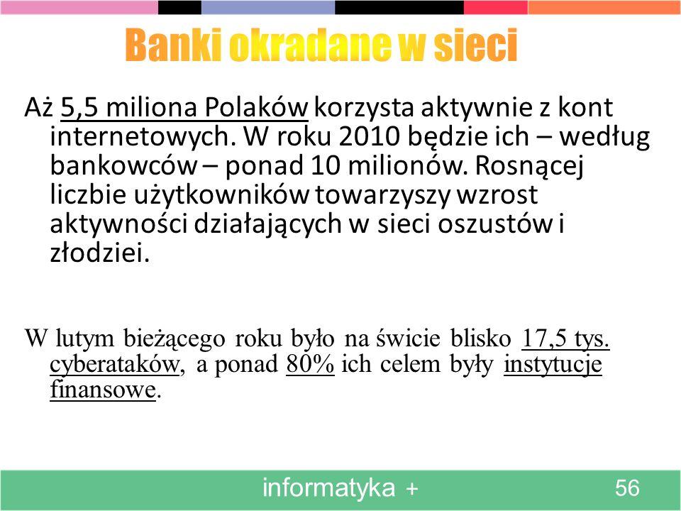 Aż 5,5 miliona Polaków korzysta aktywnie z kont internetowych. W roku 2010 będzie ich – według bankowców – ponad 10 milionów. Rosnącej liczbie użytkow