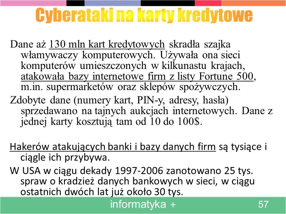 Hakerów atakujących banki i bazy danych firm są tysiące i ciągle ich przybywa. W USA w ciągu dekady 1997-2006 zanotowano 25 tys. spraw o kradzież dany