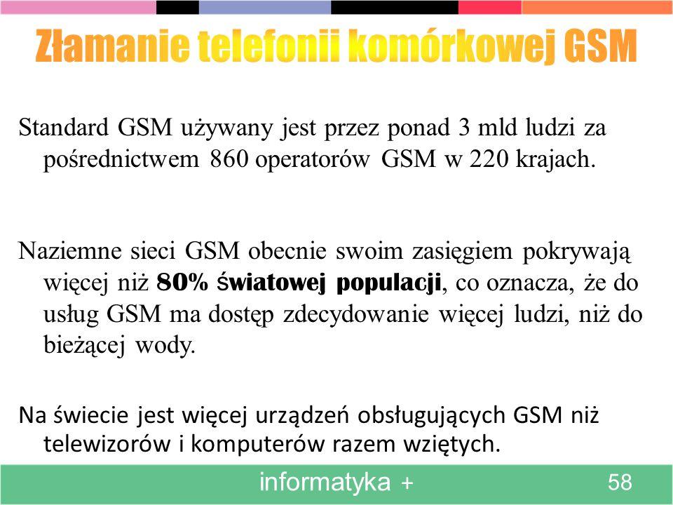 Na świecie jest więcej urządzeń obsługujących GSM niż telewizorów i komputerów razem wziętych. Standard GSM używany jest przez ponad 3 mld ludzi za po