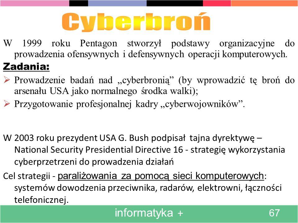 W 2003 roku prezydent USA G. Bush podpisał tajna dyrektywę – National Security Presidential Directive 16 - strategię wykorzystania cyberprzetrzeni do