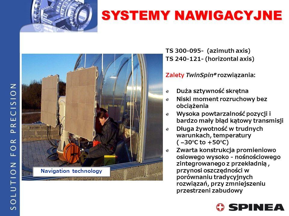 SYSTEMY NAWIGACYJNE Navigation technology TS 300-095- (azimuth axis) TS 240-121- (horizontal axis) Zalety TwinSpin rozwiązania: Duża sztywność skrętna