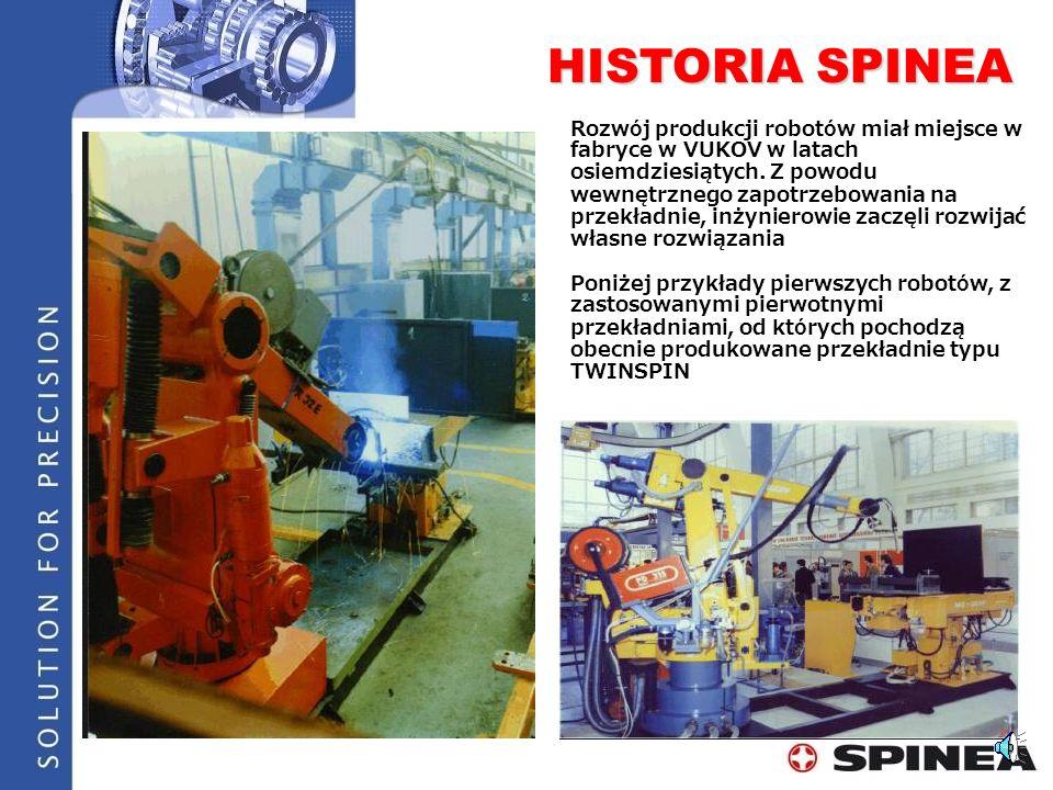 HISTORY OF SPINEA Lata 1980-te Początek prac nad przekładniami typu TWINSPIN 1994Powstanie SPINEA 1995Ustanowienie międzynarodowego patentu na konstrukcje TWINSPIN 1999Początek produkcji, ustanowienie kolejnego patentu na łożyskową zabudowę TWINSPIN 1999, 2000Przyznanie ISO 9001:2000 2005Otwarcie nowej fabryki - 230 pracownik ó w 2007Dalszy rozw ó j - 260 employees 2008SPINEA zostaje członkiem United robotics – jako jedyny Europejski producent