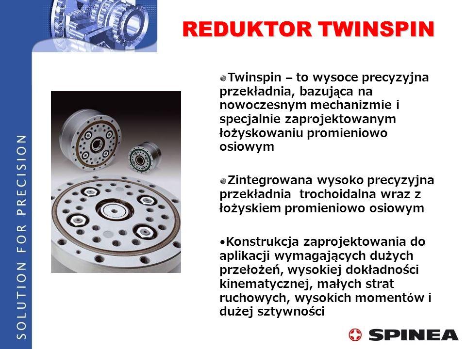 REDUKTOR TWINSPIN Twinspin – to wysoce precyzyjna przekładnia, bazuj ą ca na nowoczesnym mechanizmie i specjalnie zaprojektowanym łożyskowaniu promien