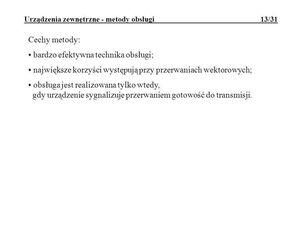 Urządzenia zewnętrzne - metody obsługi 13/31 Cechy metody: bardzo efektywna technika obsługi; największe korzyści występują przy przerwaniach wektorow