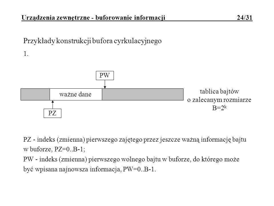 Urządzenia zewnętrzne - buforowanie informacji 24/31 tablica bajtów o zalecanym rozmiarze B=2 k ważne dane PZ PW Przykłady konstrukcji bufora cyrkulac