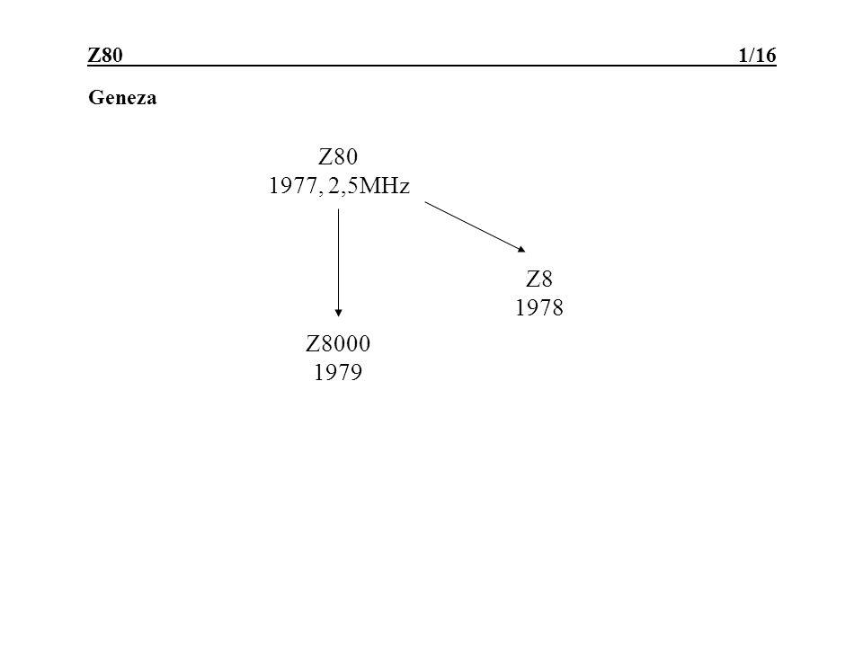 Z80 -cechy 2/16 Cechy użytkowe (zalety w porównaniu z 8080) : 8-bitowa magistrala danych; 16-bitowa magistrala adresów; 8-bitowa ALU; bogata gama rozkazów: przesyłania bajtów i słów 2-bajtowych przesyłania i przeszukiwania bloków informacji operacje arytmetyczno-logiczne na bajtach i słowach 2-bajtowych (rozszerzony zestaw operacji i argumentów) operacje bitowe (BIT, SET, RES) 16-bitowe skoki i wywołania procedur, bezwarunkowe i warunkowe skoki relatywne (1B w U2) operacje we/wy proste operacje we/wy z wyliczaną adresacją portów i blokowe rozkazy sterujące