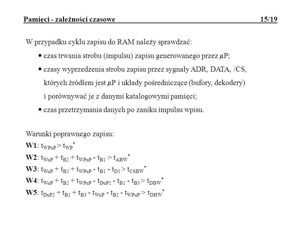 Pamięci - zależności czasowe 15/19 W przypadku cyklu zapisu do RAM należy sprawdzać: czas trwania strobu (impulsu) zapisu generowanego przez P; czasy