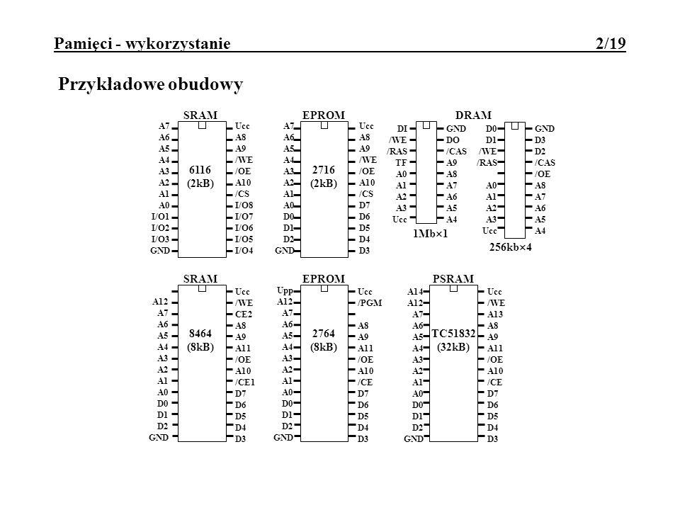 Pamięci - wykorzystanie 2/19 Przykładowe obudowy Ucc A8 A9 /WE /OE A10 /CS I/O8 I/O7 I/O6 I/O5 I/O4 A7 A6 A5 A4 A3 A2 A1 A0 I/O1 I/O2 I/O3 GND SRAM 61