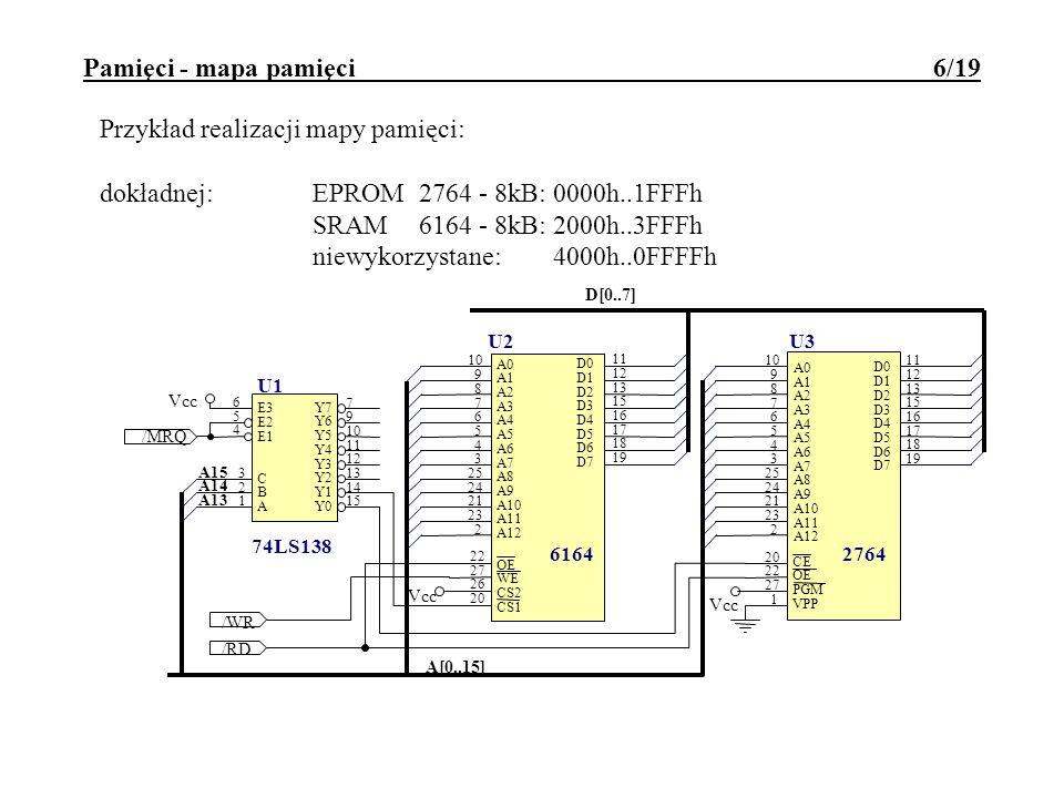 Pamięci - mapa pamięci 6/19 Przykład realizacji mapy pamięci: dokładnej:EPROM2764 - 8kB: 0000h..1FFFh SRAM6164 - 8kB: 2000h..3FFFh niewykorzystane: 40