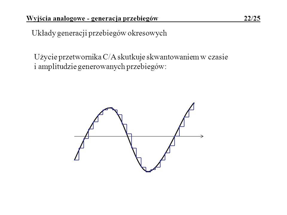 Wyjścia analogowe - generacja przebiegów 22/25 Układy generacji przebiegów okresowych Użycie przetwornika C/A skutkuje skwantowaniem w czasie i amplit