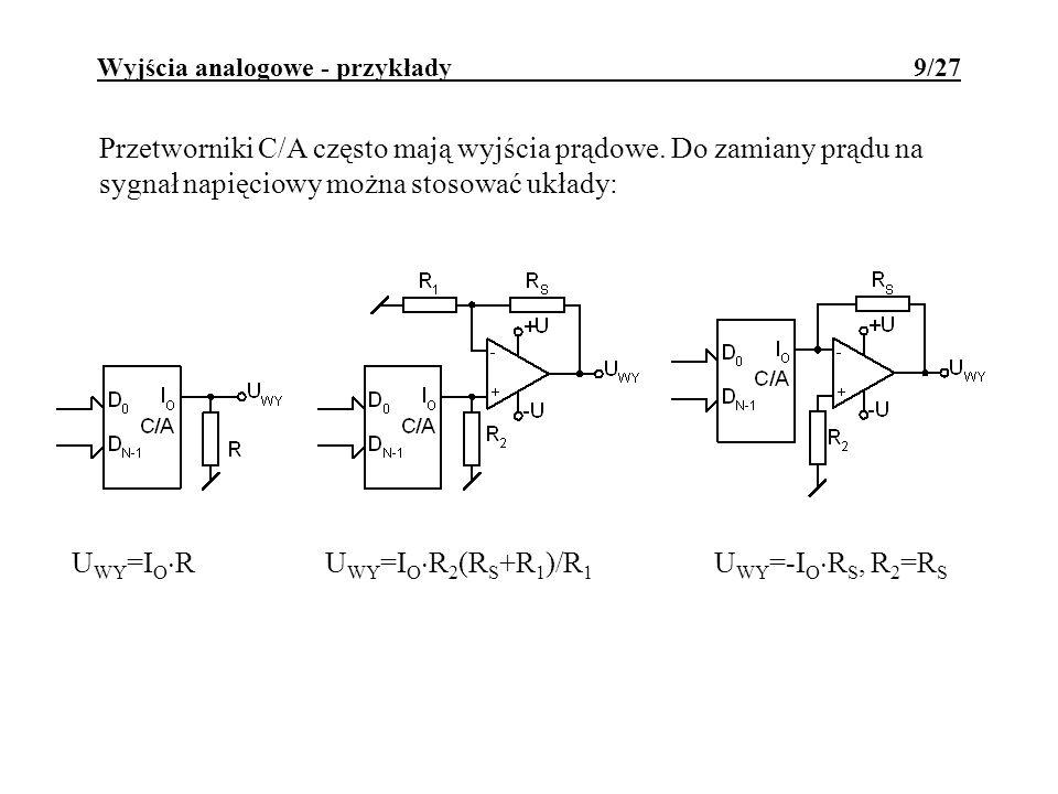 Wyjścia analogowe - przykłady 9/27 Przetworniki C/A często mają wyjścia prądowe. Do zamiany prądu na sygnał napięciowy można stosować układy: U WY =I