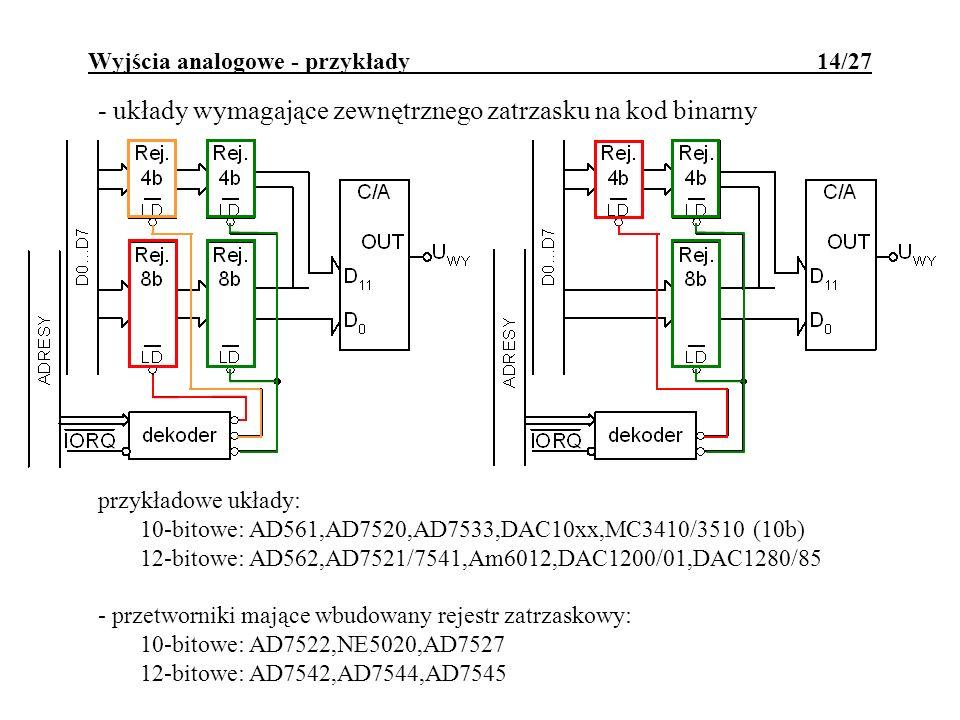 Wyjścia analogowe - przykłady 14/27 - układy wymagające zewnętrznego zatrzasku na kod binarny przykładowe układy: 10-bitowe: AD561,AD7520,AD7533,DAC10