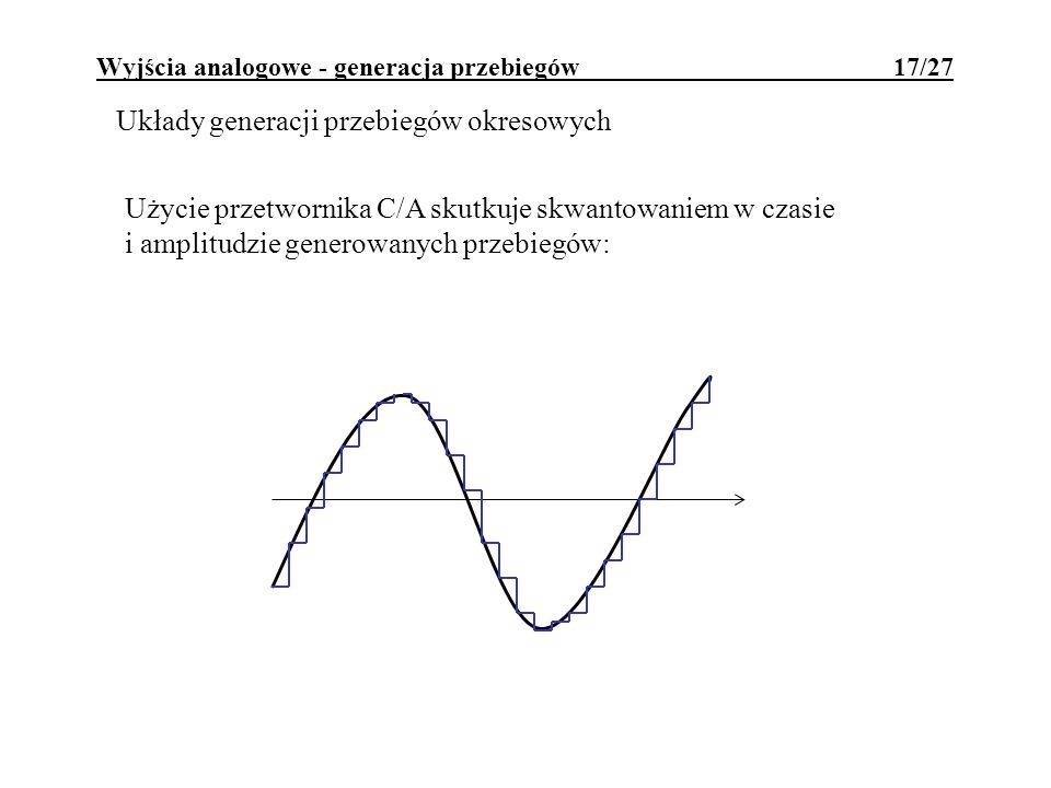 Wyjścia analogowe - generacja przebiegów 17/27 Układy generacji przebiegów okresowych Użycie przetwornika C/A skutkuje skwantowaniem w czasie i amplit