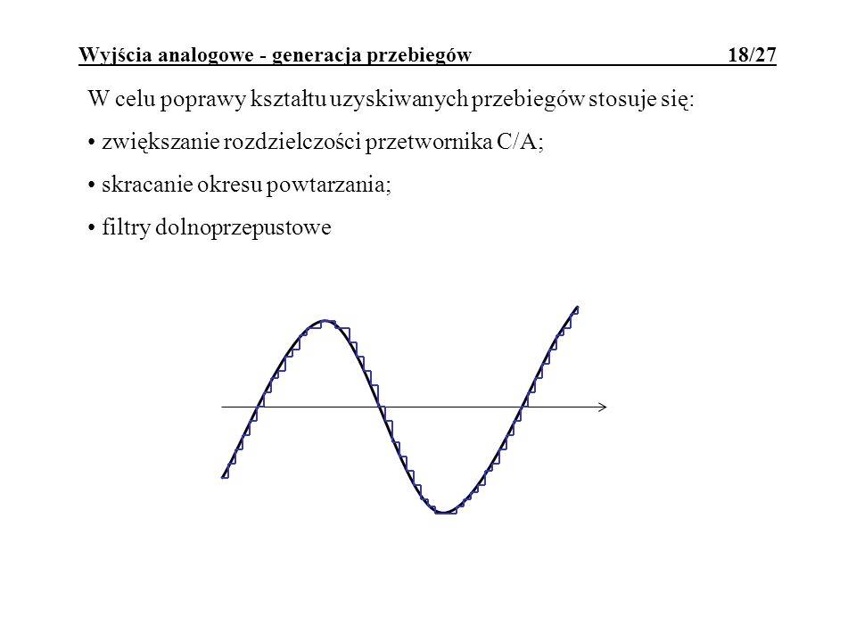 Wyjścia analogowe - generacja przebiegów 18/27 W celu poprawy kształtu uzyskiwanych przebiegów stosuje się: zwiększanie rozdzielczości przetwornika C/