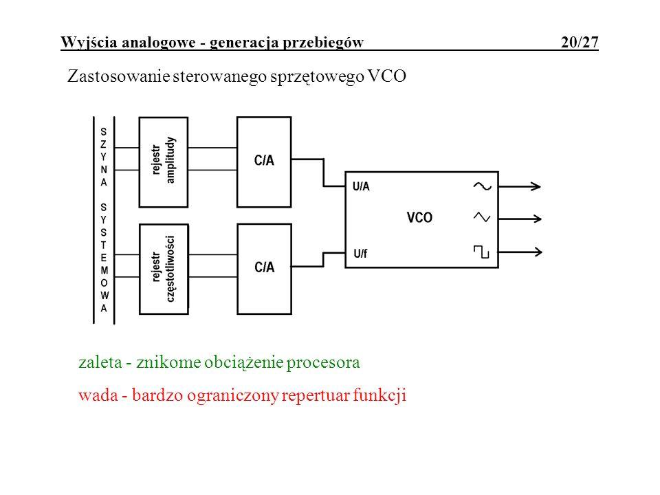 Wyjścia analogowe - generacja przebiegów 20/27 Zastosowanie sterowanego sprzętowego VCO zaleta - znikome obciążenie procesora wada - bardzo ograniczon