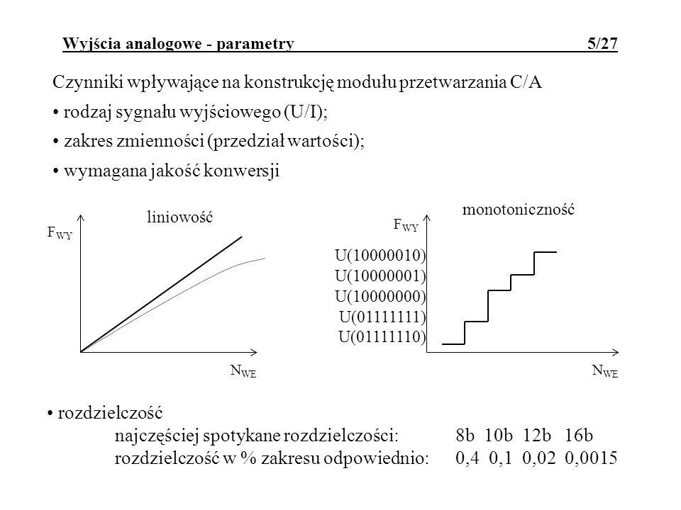 Wyjścia analogowe - parametry 5/27 Czynniki wpływające na konstrukcję modułu przetwarzania C/A rodzaj sygnału wyjściowego (U/I); zakres zmienności (pr