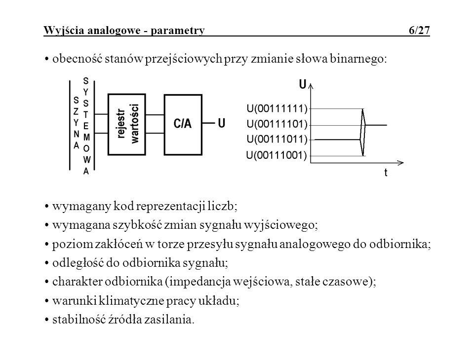 Wyjścia analogowe - parametry 6/27 obecność stanów przejściowych przy zmianie słowa binarnego: wymagany kod reprezentacji liczb; wymagana szybkość zmi