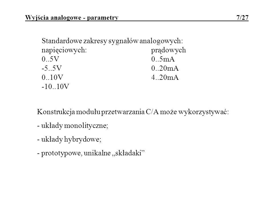 Wyjścia analogowe - parametry 7/27 Standardowe zakresy sygnałów analogowych: napięciowych:prądowych 0..5V0..5mA -5..5V 0..20mA 0..10V4..20mA -10..10V