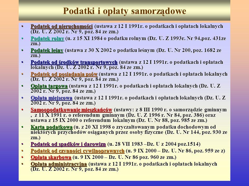 Podatki i opłaty samorządowe Podatek od nieruchomości (ustawa z 12 I 1991r. o podatkach i opłatach lokalnych (Dz. U. Z 2002 r. Nr 9, poz. 84 ze zm.)Po