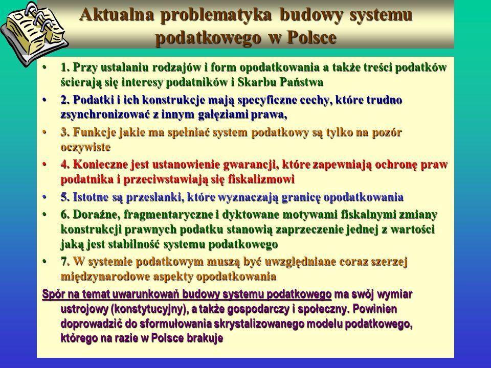 Aktualna problematyka budowy systemu podatkowego w Polsce 1. Przy ustalaniu rodzajów i form opodatkowania a także treści podatków ścierają się interes
