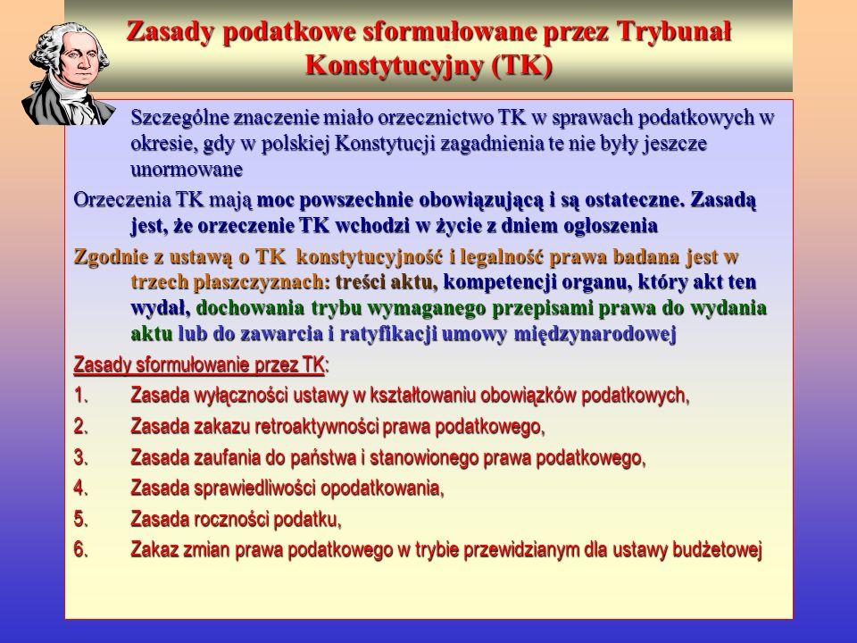 Zasady podatkowe sformułowane przez Trybunał Konstytucyjny (TK) Szczególne znaczenie miało orzecznictwo TK w sprawach podatkowych w okresie, gdy w pol