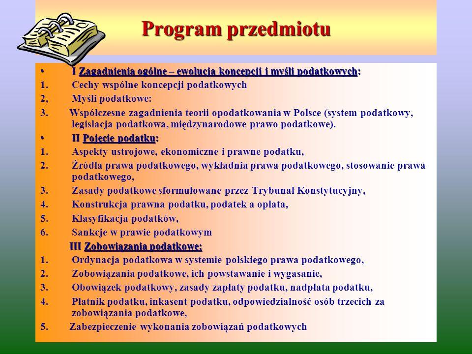 Program przedmiotu – c.d.
