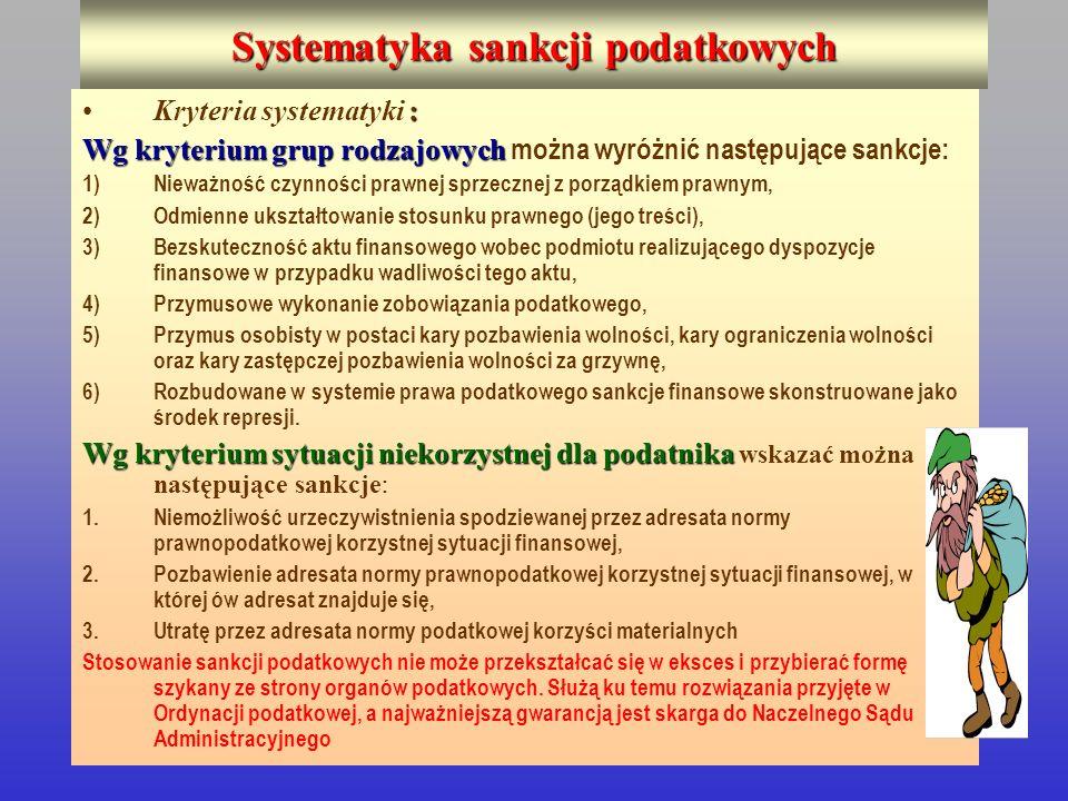 Systematyka sankcji podatkowych :Kryteria systematyki : Wg kryterium grup rodzajowych Wg kryterium grup rodzajowych można wyróżnić następujące sankcje
