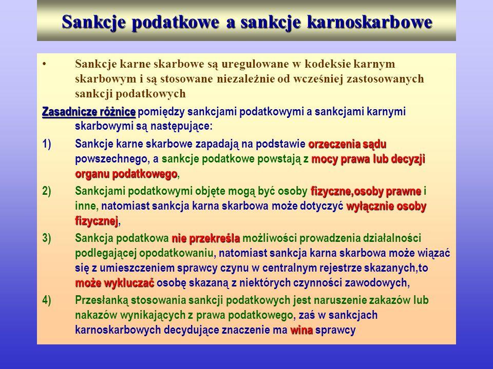 Sankcje podatkowe a sankcje karnoskarbowe Sankcje karne skarbowe są uregulowane w kodeksie karnym skarbowym i są stosowane niezależnie od wcześniej za