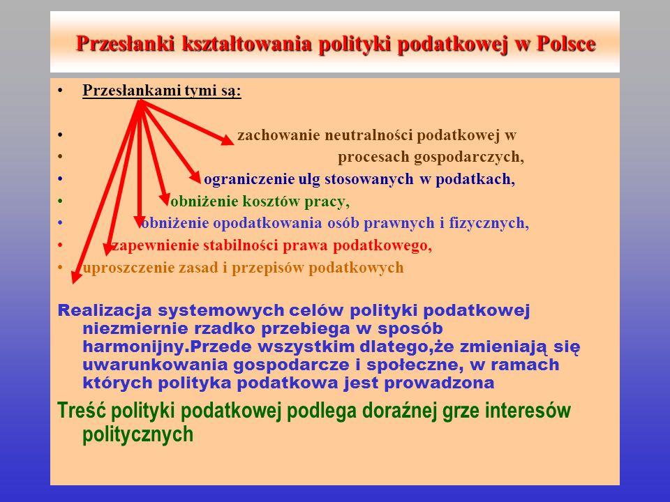 Przesłanki kształtowania polityki podatkowej w Polsce Przesłankami tymi są: zachowanie neutralności podatkowej w procesach gospodarczych, ograniczenie