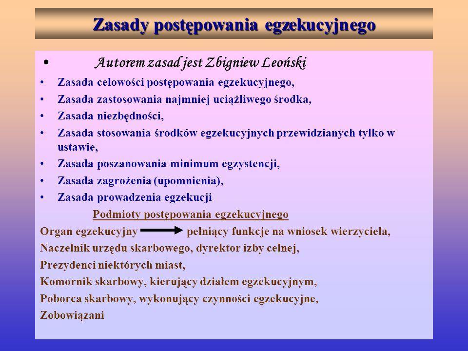 Zasady postępowania egzekucyjnego Autorem zasad jest Zbigniew Leoński Zasada celowości postępowania egzekucyjnego, Zasada zastosowania najmniej uciążl
