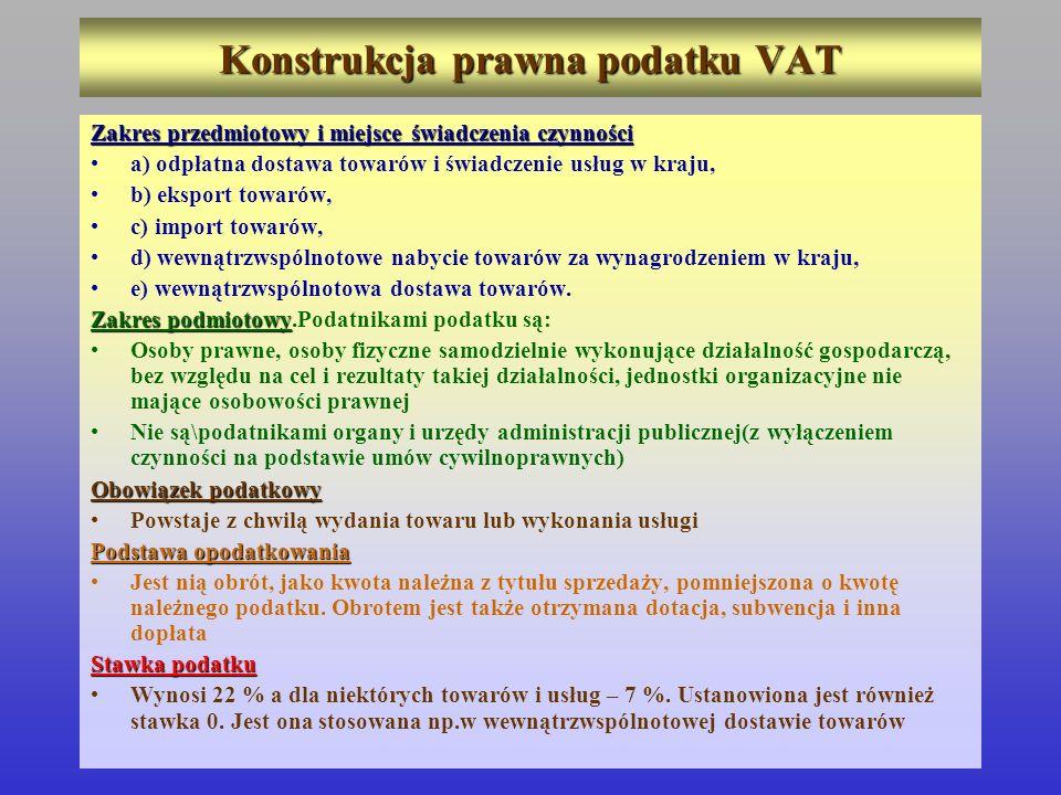 Konstrukcja prawna podatku VAT Zakres przedmiotowy i miejsce świadczenia czynności a) odpłatna dostawa towarów i świadczenie usług w kraju, b) eksport