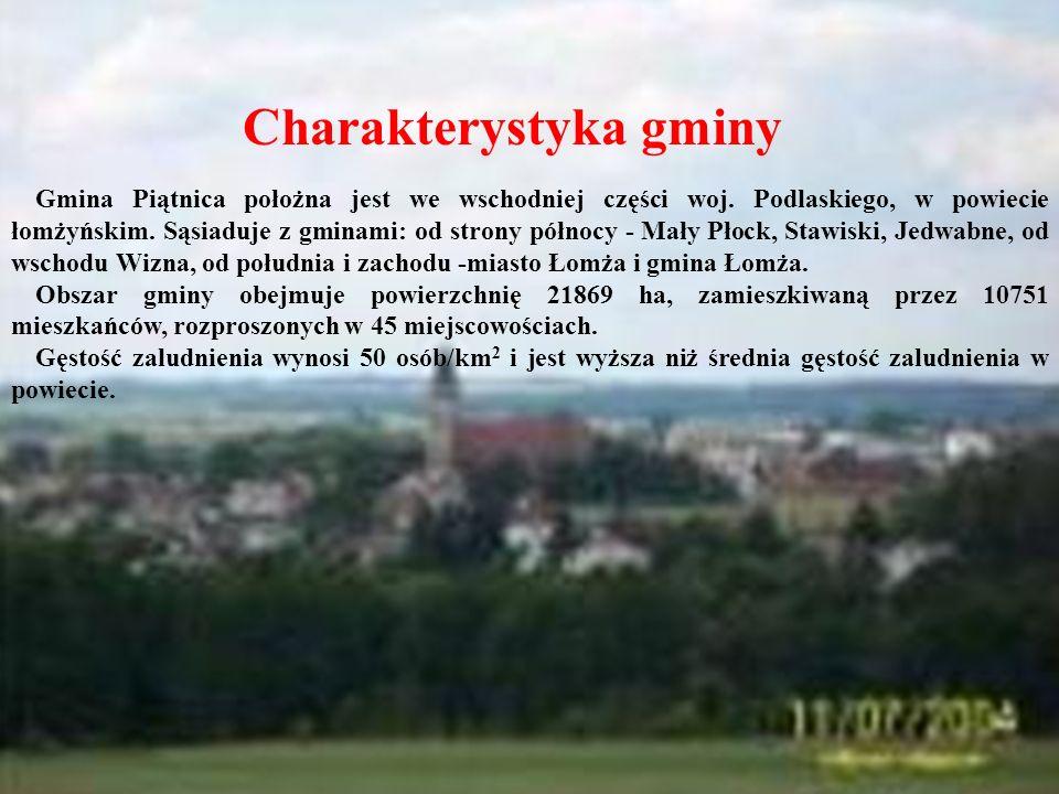 Charakterystyka gminy Gmina Piątnica położna jest we wschodniej części woj. Podlaskiego, w powiecie łomżyńskim. Sąsiaduje z gminami: od strony północy