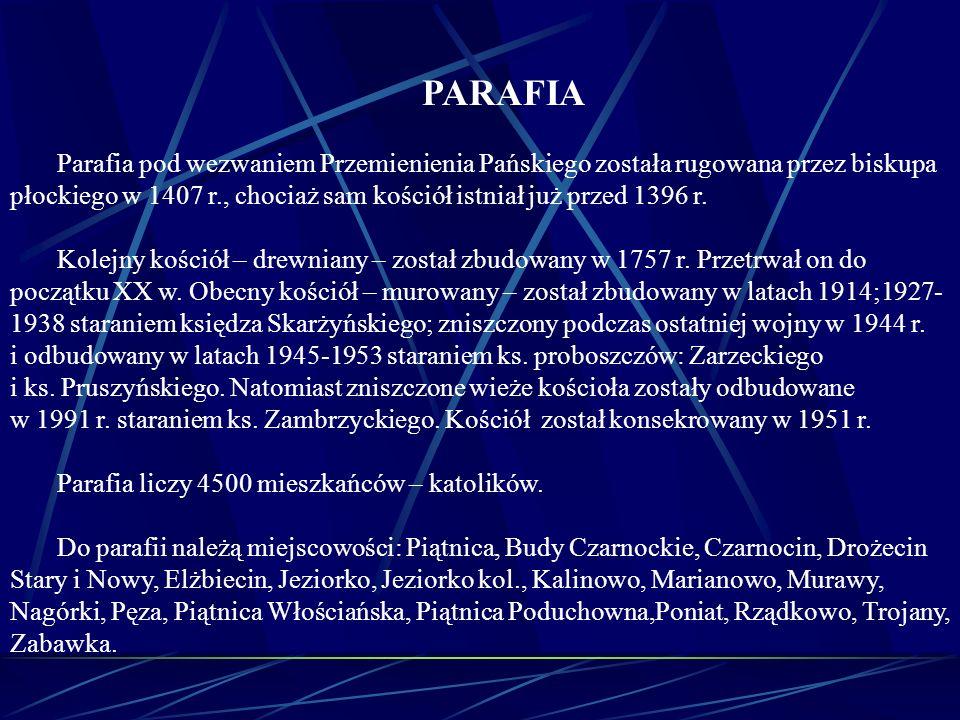 PARAFIA Parafia pod wezwaniem Przemienienia Pańskiego została rugowana przez biskupa płockiego w 1407 r., chociaż sam kościół istniał już przed 1396 r