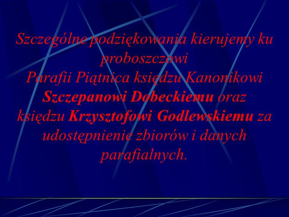Szczególne podziękowania kierujemy ku proboszczowi Parafii Piątnica księdzu Kanonikowi Szczepanowi Dobeckiemu oraz księdzu Krzysztofowi Godlewskiemu z
