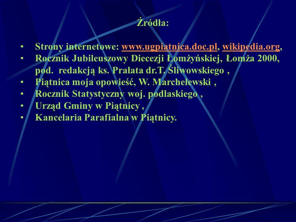 Źródła: Strony internetowe: www.ugpiatnica.doc.pl, wikipedia.org,www.ugpiatnica.doc.plwikipedia.org Rocznik Jubileuszowy Diecezji Łomżyńskiej, Łomża 2