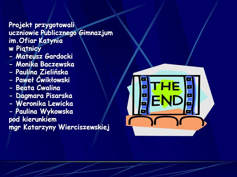 Projekt przygotowali uczniowie Publicznego Gimnazjum im.Ofiar Katynia w Piątnicy - Mateusz Gardocki - Monika Baczewska - Paulina Zielińska - Paweł Ćwi