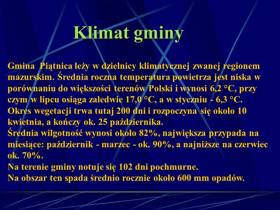 Klimat gminy Gmina Piątnica leży w dzielnicy klimatycznej zwanej regionem mazurskim. Średnia roczna temperatura powietrza jest niska w porównaniu do w