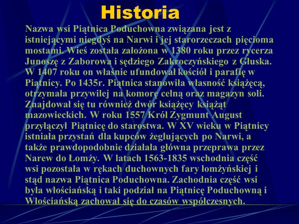 Historia Nazwa wsi Piątnica Poduchowna związana jest z istniejącymi niegdyś na Narwi i jej starorzeczach pięcioma mostami. Wieś została założona w 138