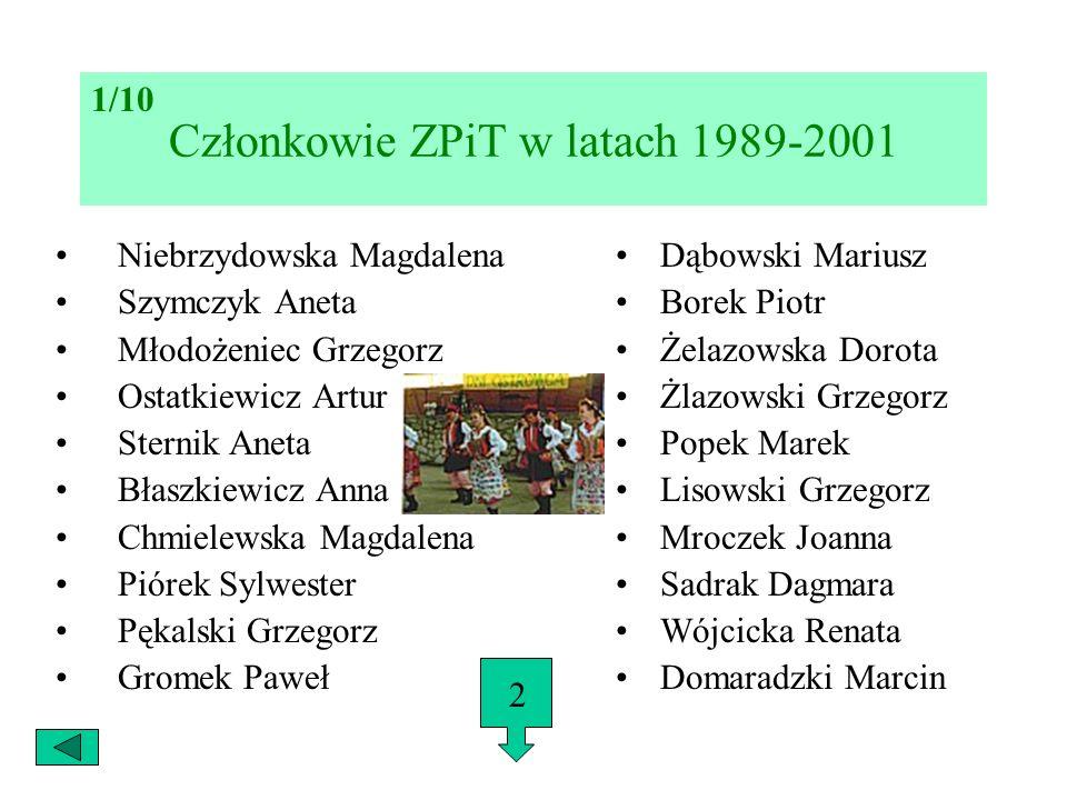 Członkowie ZPiT w latach 1989-2001 Niebrzydowska Magdalena Szymczyk Aneta Młodożeniec Grzegorz Ostatkiewicz Artur Sternik Aneta Błaszkiewicz Anna Chmi
