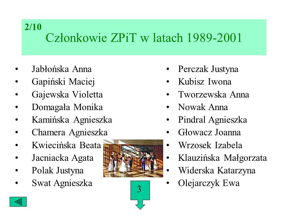 Członkowie ZPiT w latach 1989-2001 Jabłońska Anna Gapiński Maciej Gajewska Violetta Domagała Monika Kamińska Agnieszka Chamera Agnieszka Kwiecińska Be