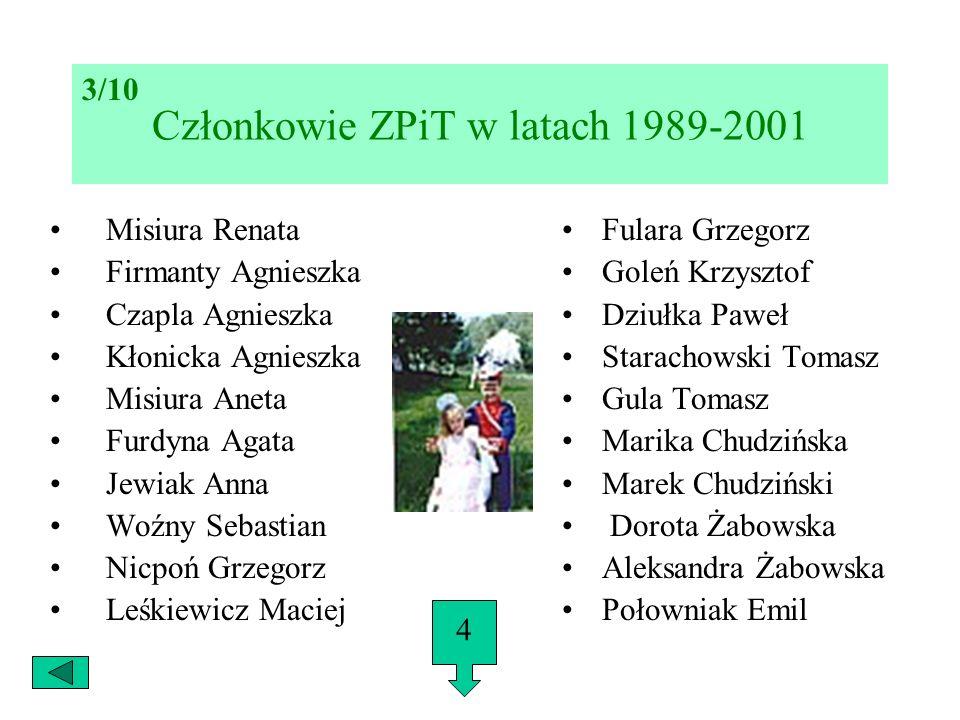 Członkowie ZPiT w latach 1989-2001 Misiura Renata Firmanty Agnieszka Czapla Agnieszka Kłonicka Agnieszka Misiura Aneta Furdyna Agata Jewiak Anna Woźny