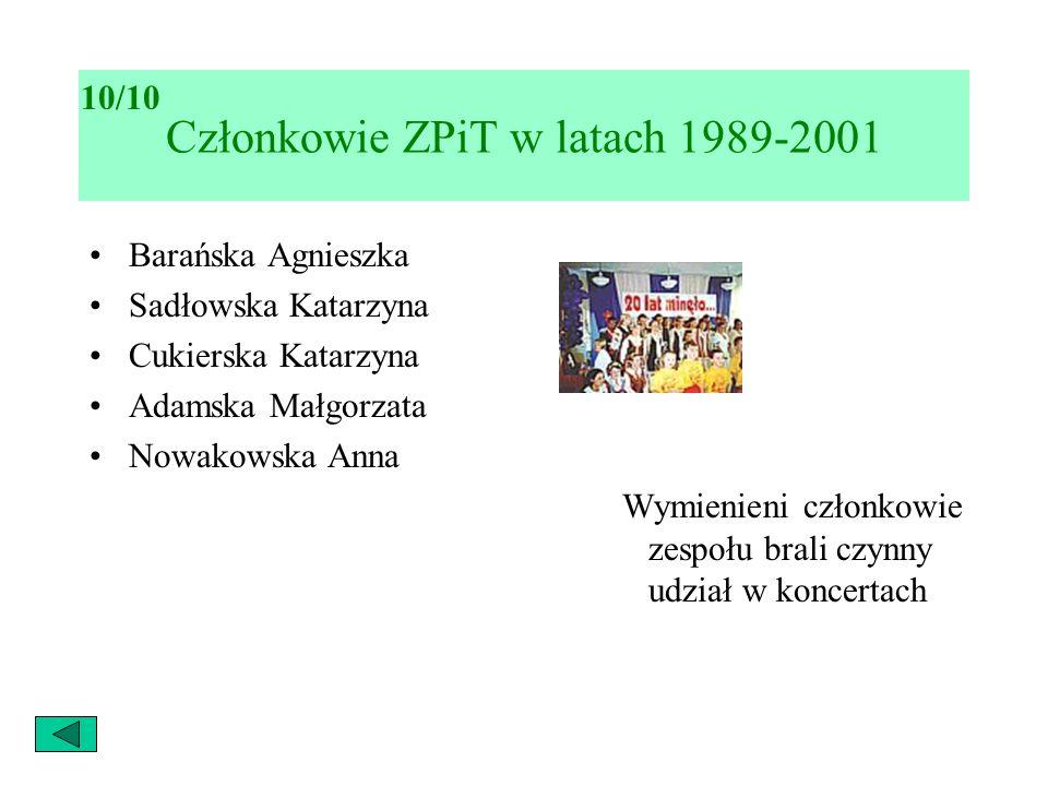 Barańska Agnieszka Sadłowska Katarzyna Cukierska Katarzyna Adamska Małgorzata Nowakowska Anna Wymienieni członkowie zespołu brali czynny udział w konc