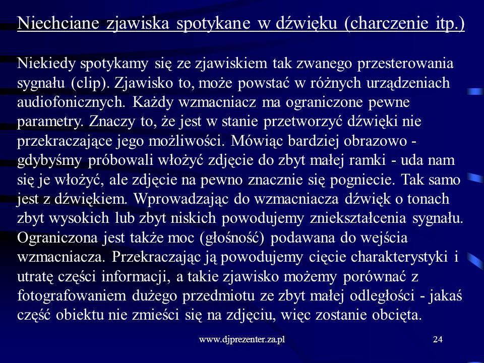 www.djprezenter.za.pl24 Niechciane zjawiska spotykane w dźwięku (charczenie itp.) Niekiedy spotykamy się ze zjawiskiem tak zwanego przesterowania sygnału (clip).