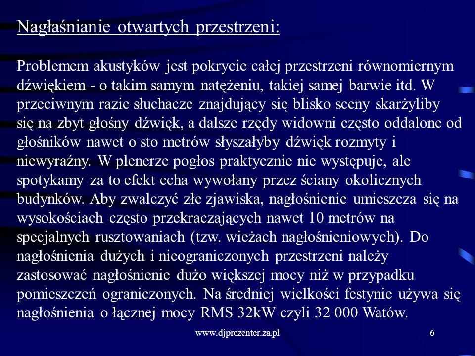 www.djprezenter.za.pl27 Zapobieganie charczeniu : Do wejścia wzmacniacza nie należy podawać sygnału o częstotliwościach przekraczających jego wejściowy zakres.